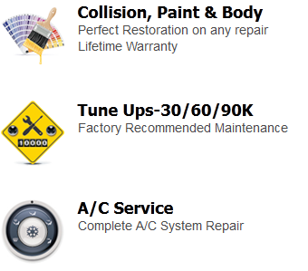 Collision, Paint & Body, Tune Ups-30/60/90K, A/C Service